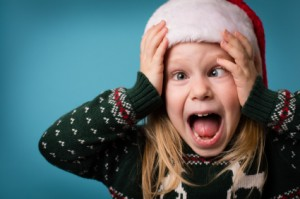 Girl Screaming in Santa Hat