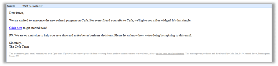 Cyfe email