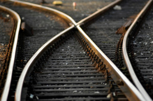 Diverging-railroad-tracks