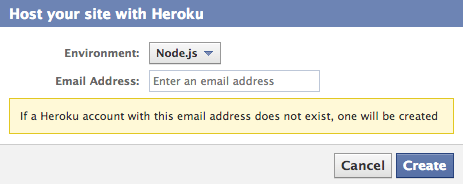 Facebook's Heroku integration