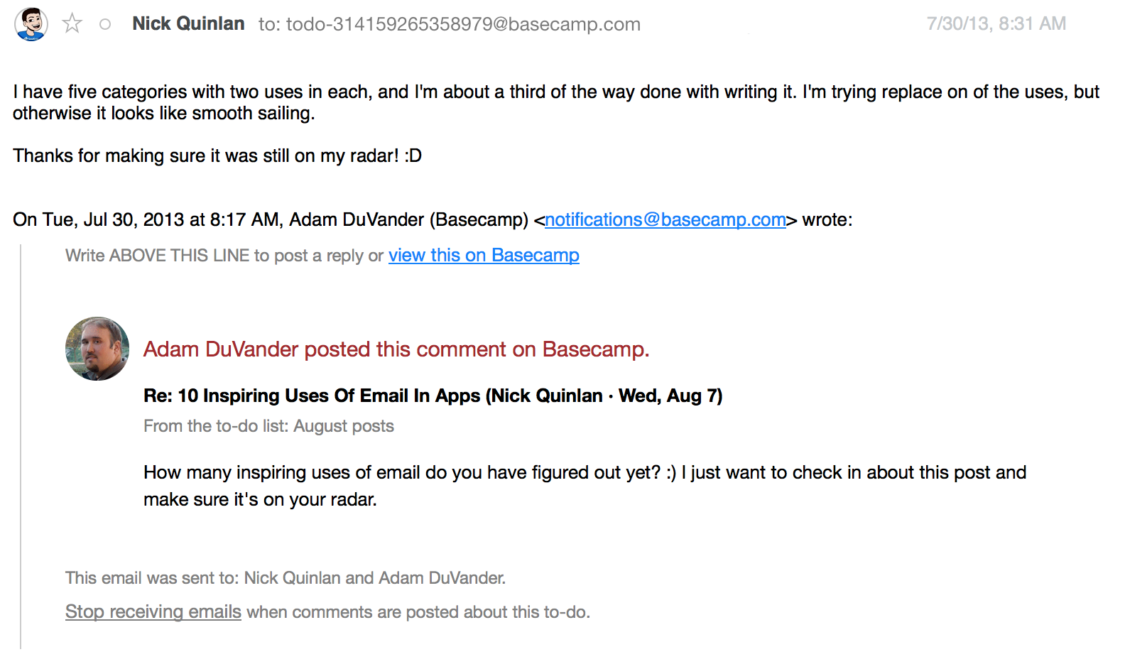 Replying to a discussion about this post on Basecamp. My email was automatically imported into the app.