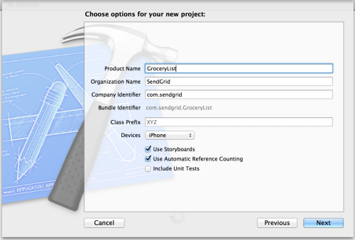Give the app a name in XCode options