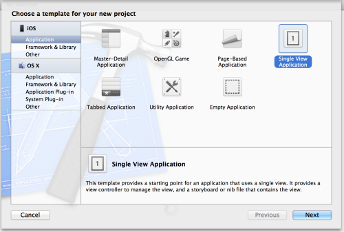 Choose Single View Application in XCode