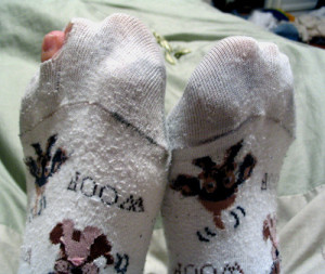 Threadbare socks
