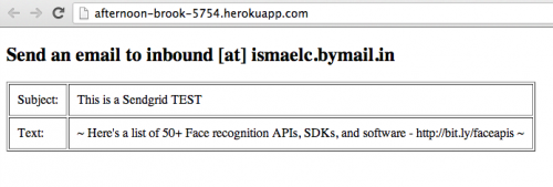 Heroku screenshot of the app in action