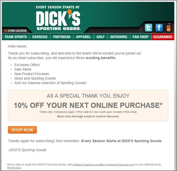 Dicks_Welcome Message