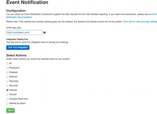 Event notification app settings