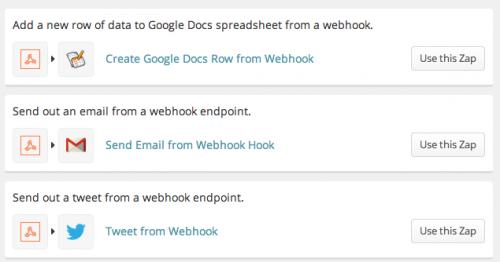 Zapier webhook examples