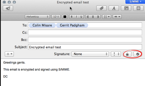 Mail.app Compose Encrypted Message