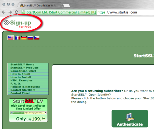StartSSL Sign Up