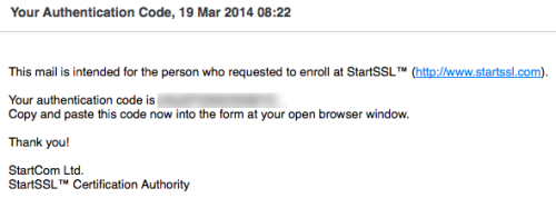 StartSSL confirmation