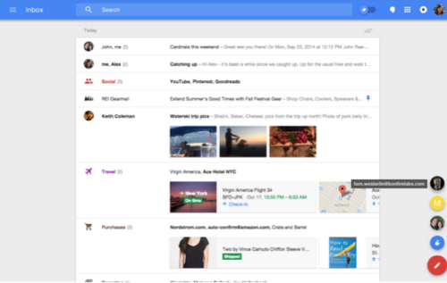 Google Inbox bundles example