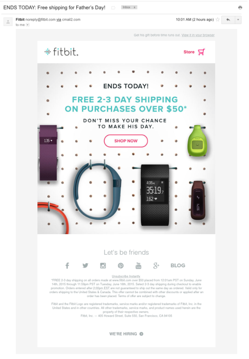 FitBit Father's Day Email