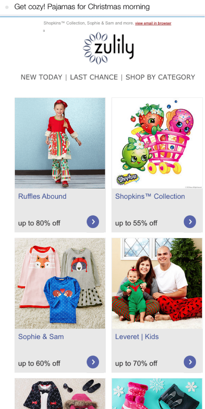 Zulily holiday email example