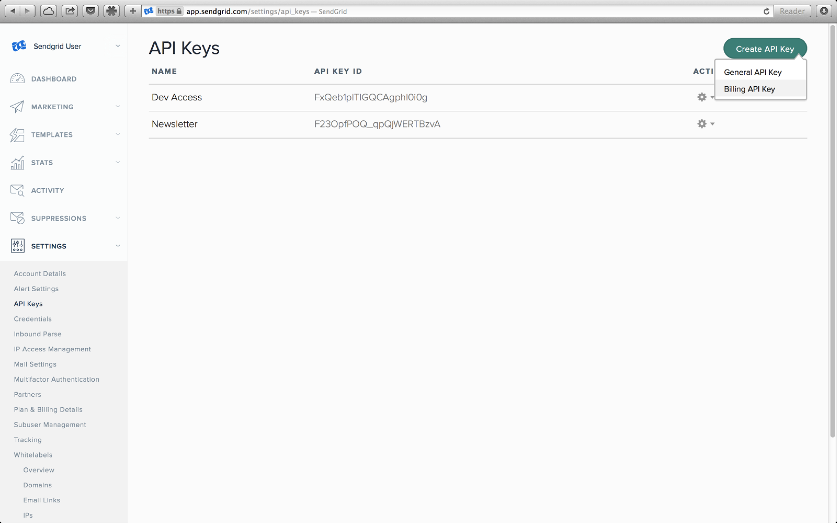 API Keys example 2