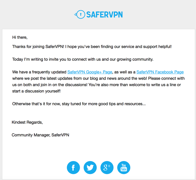 SaferVPN original email