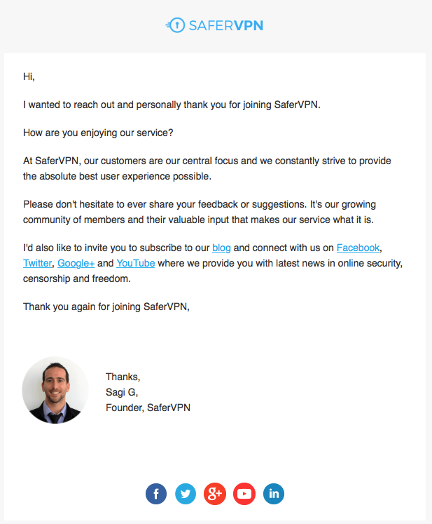 SaferVPN new founder email